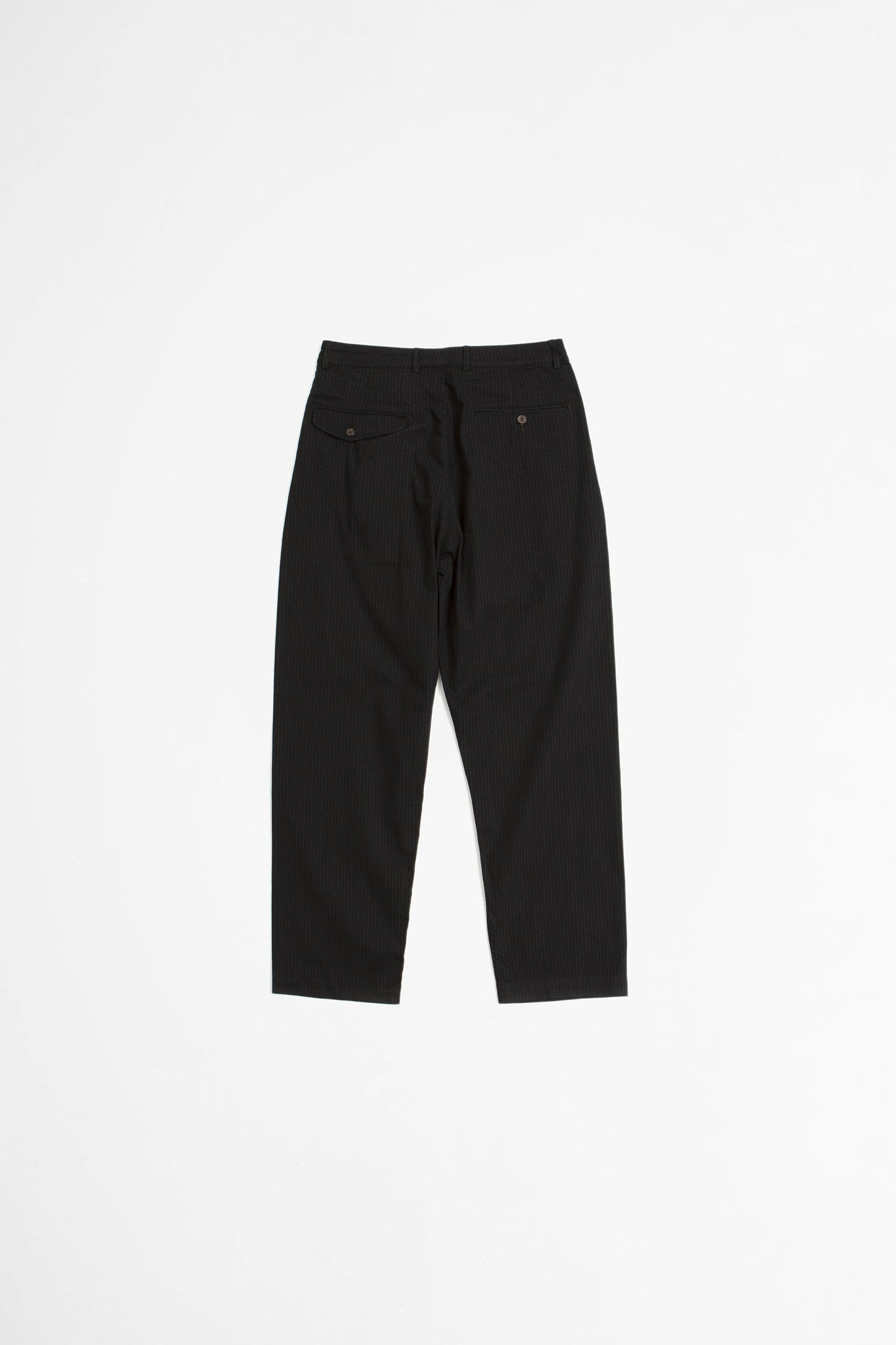 Double pleat pant cotton/nylon pinstripe black