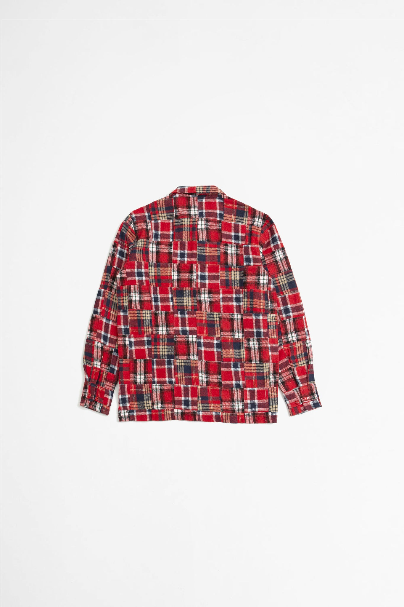 Garage II shirt in red brushed patchwork