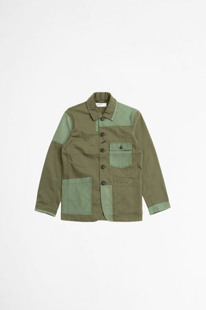 Patched mill bakers jacket in twill mix olive