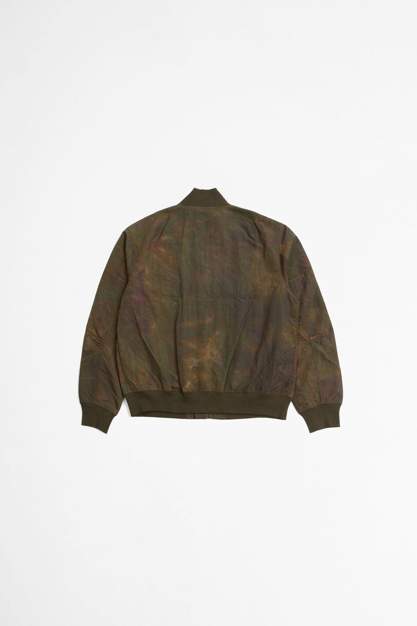 Bomber jacket space dyed nylon olive