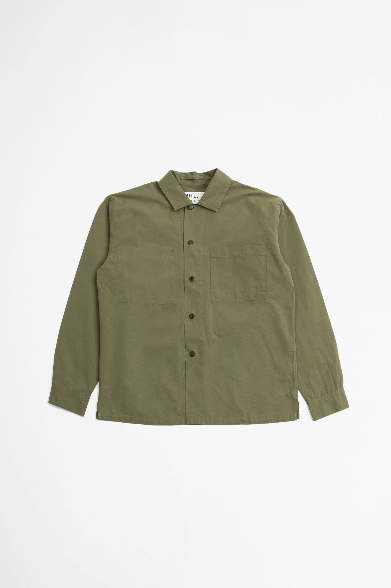 Wide placket shirt dry selvedge cotton khaki
