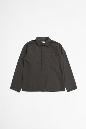 Asymmetric collar shirt contrast warp cotton khaki
