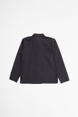 Asymmetric collar shirt contrast warp cotton charcoal