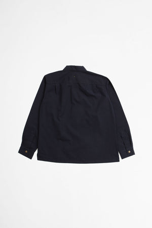 Wide placket shirt dry selvedge cotton navy