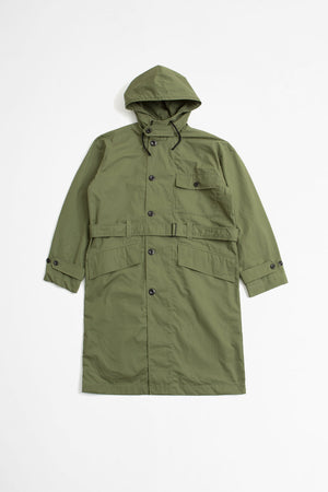 Belted parka dry plainweave cotton sage