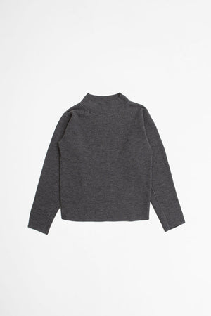 T shape jumper pure wool grey