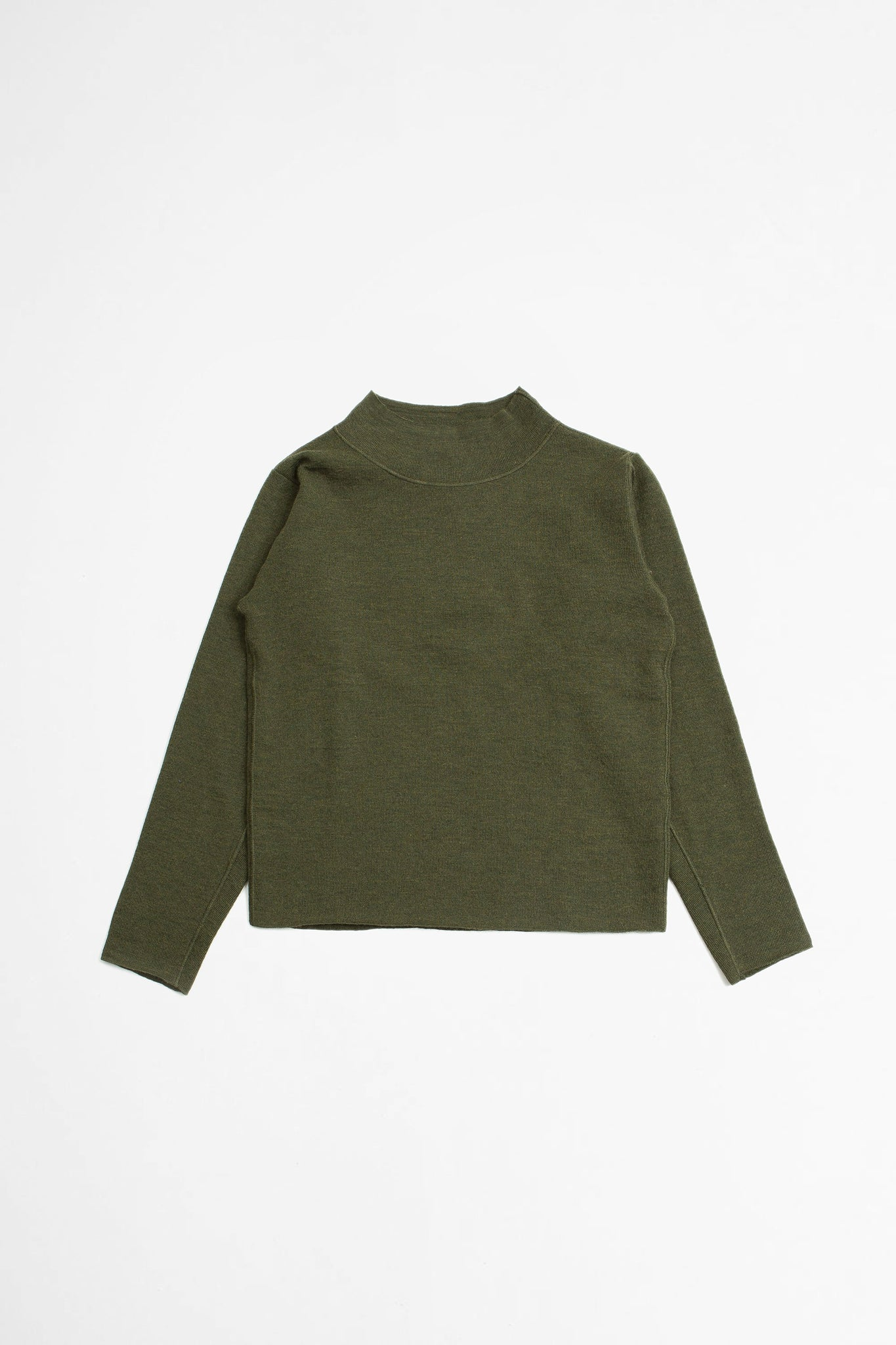 T shape jumper pure wool olive
