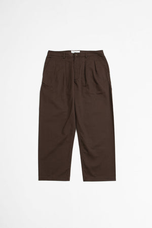 Double pleat pant chocolate twill
