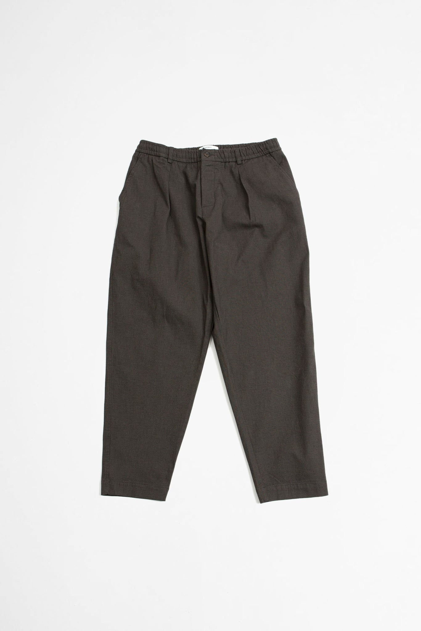 Pleated track pant tinto cotton chocolate