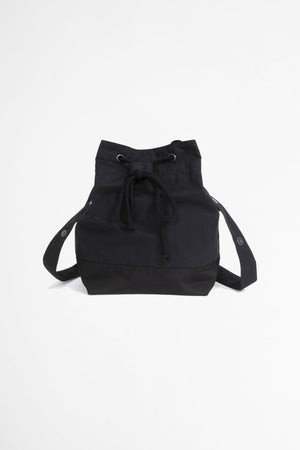 Soft bucket bag proofed plainweave cotton black