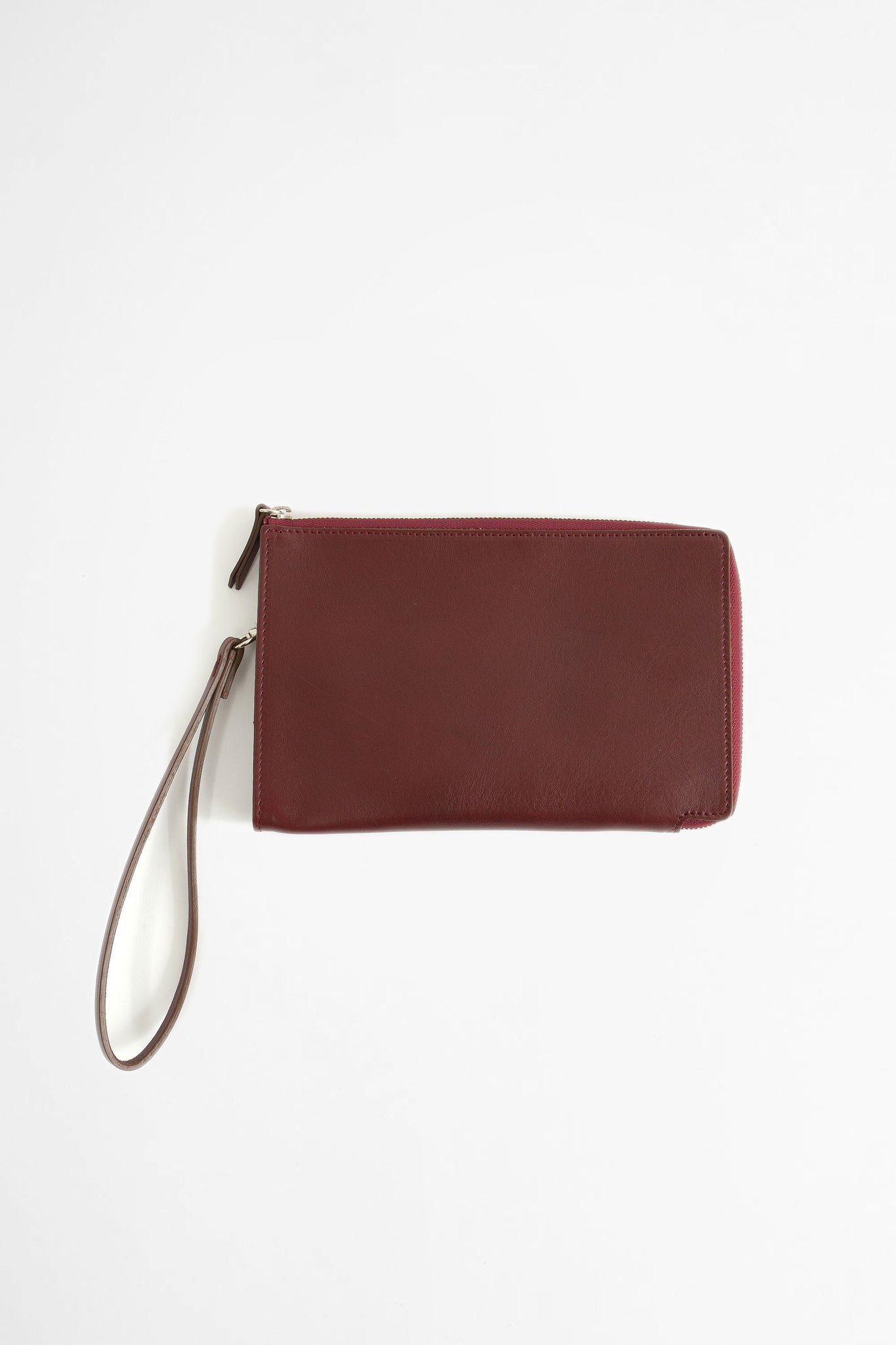 Zip-around leather pouch burgundy