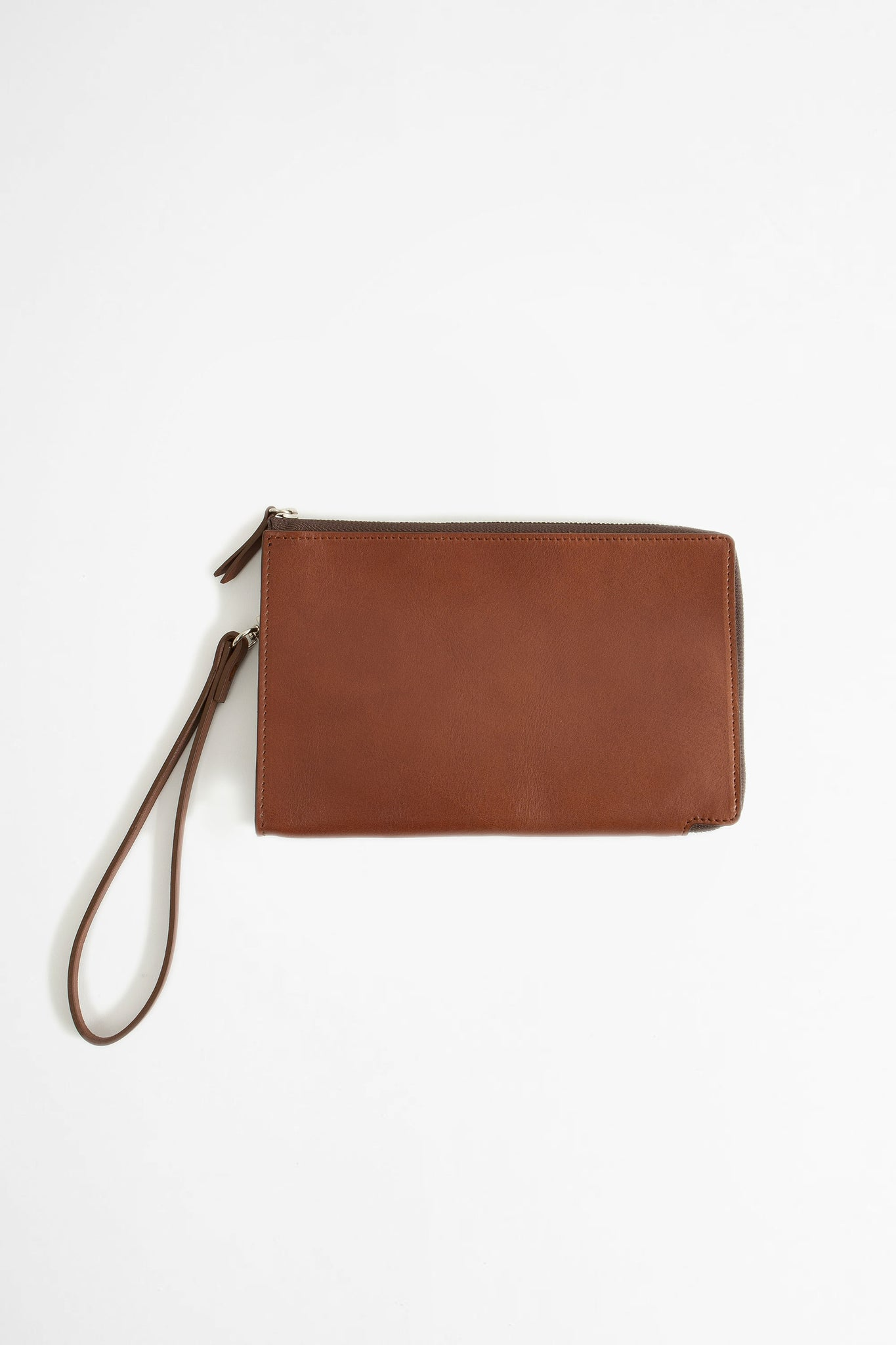 Zip-around leather pouch brown