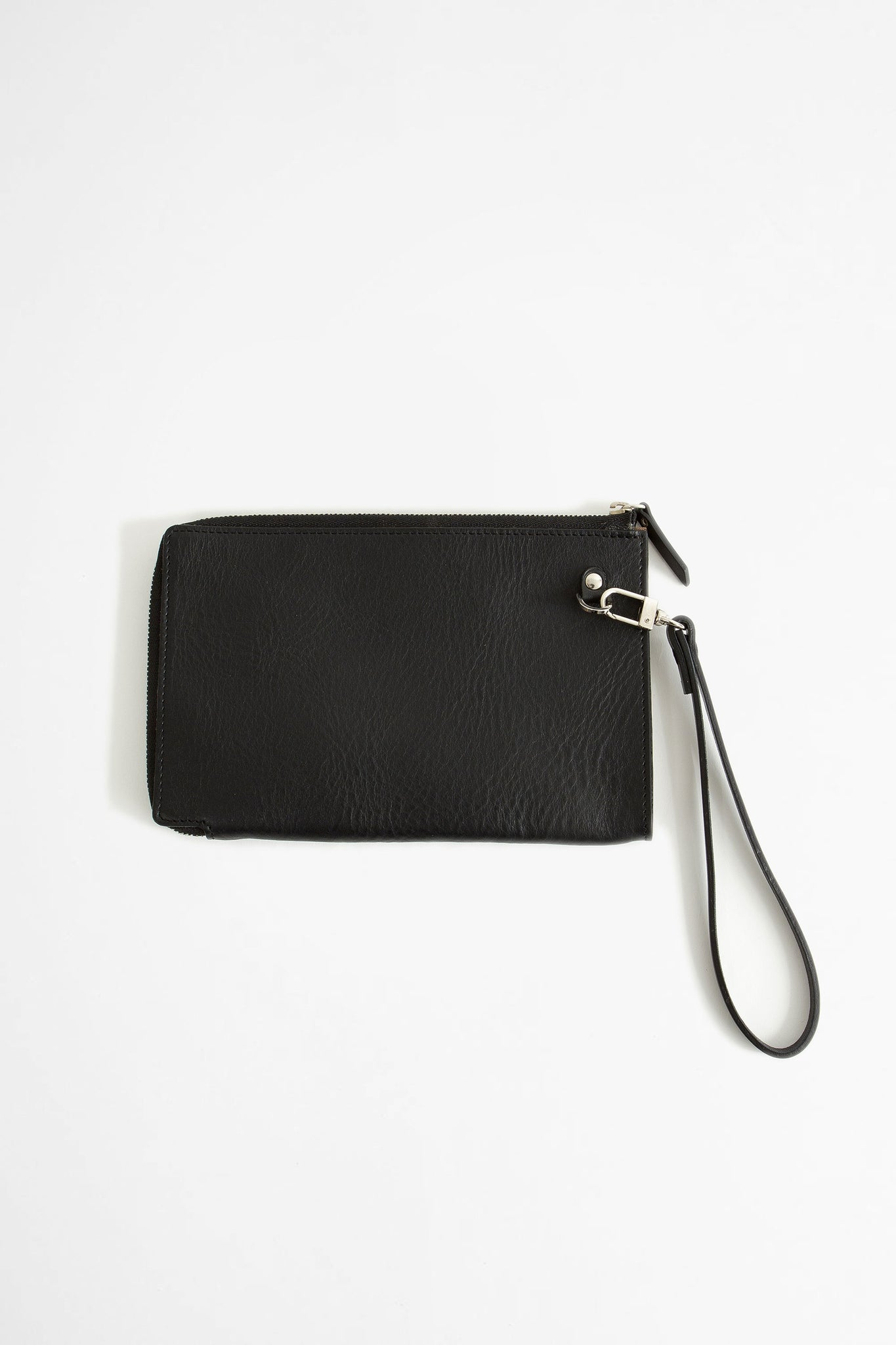 Zip-around leather pouch black
