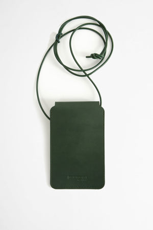 Leather phone pouch green
