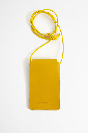 Leather phone pouch mustard