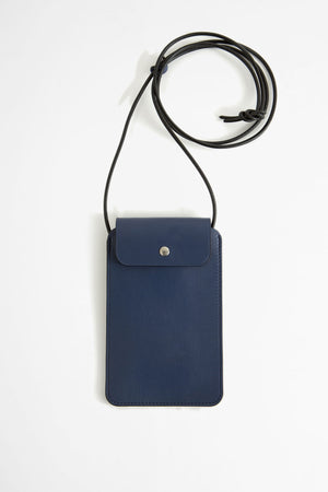 Leather phone pouch blue