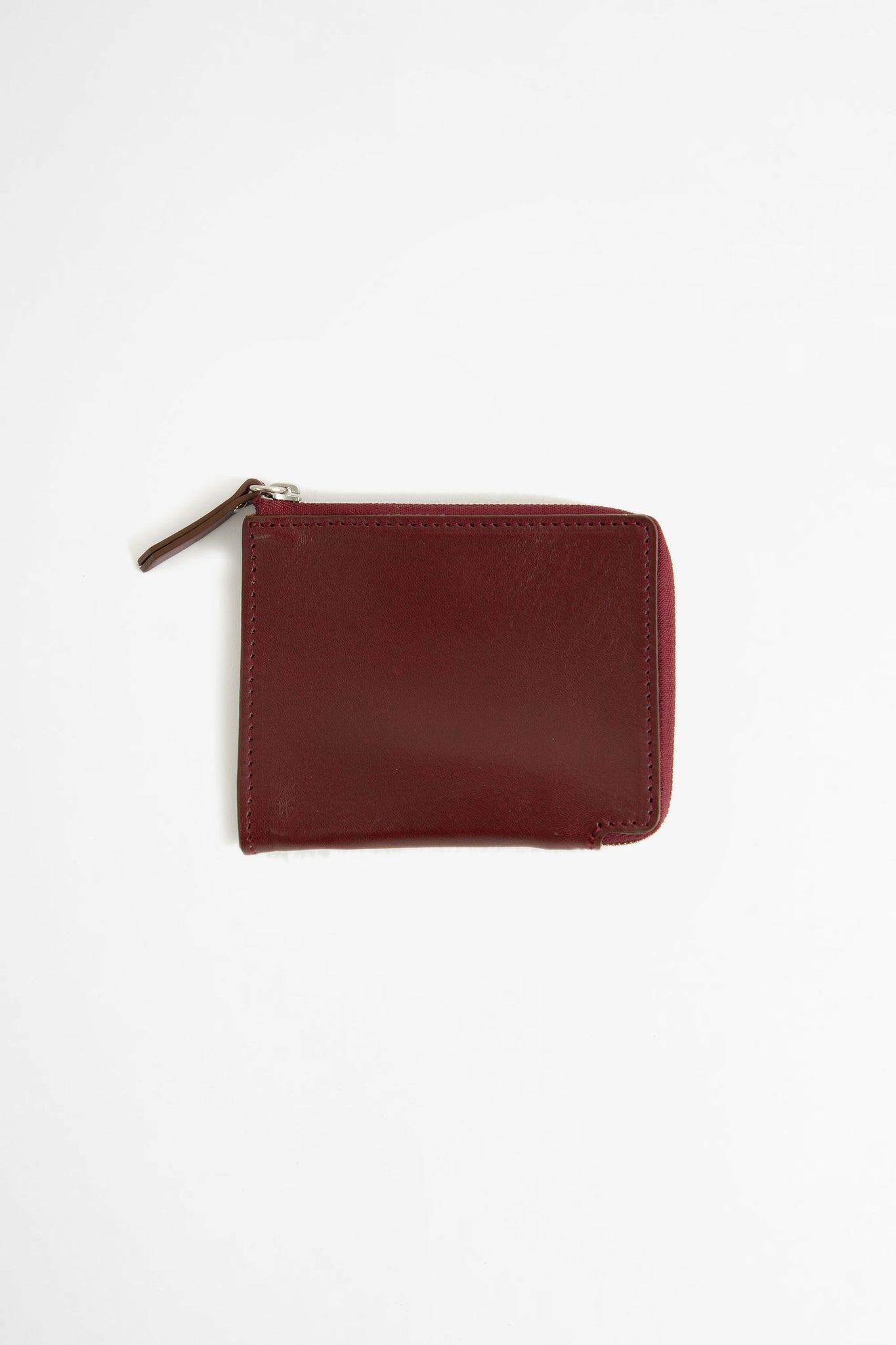 Zip-around leather wallet burgundy