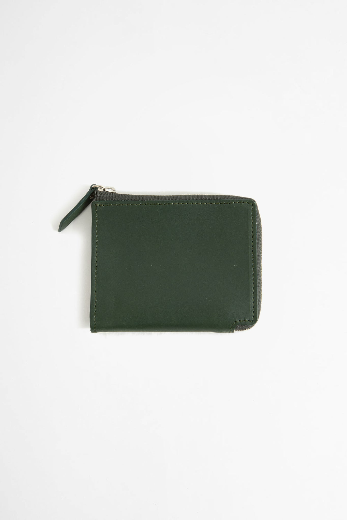Zip-around leather wallet green