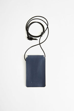 Leather cardholder with strap blue