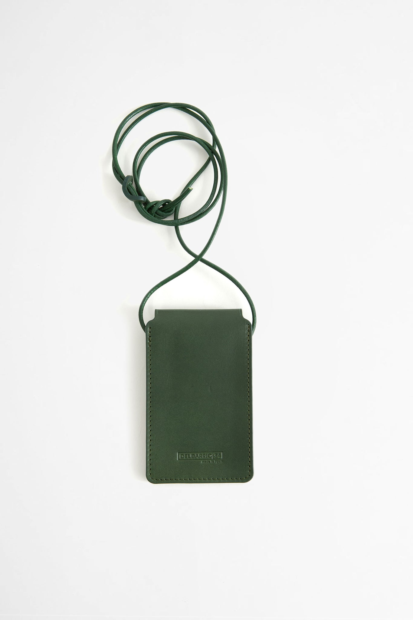 Leather cardholder with strap green