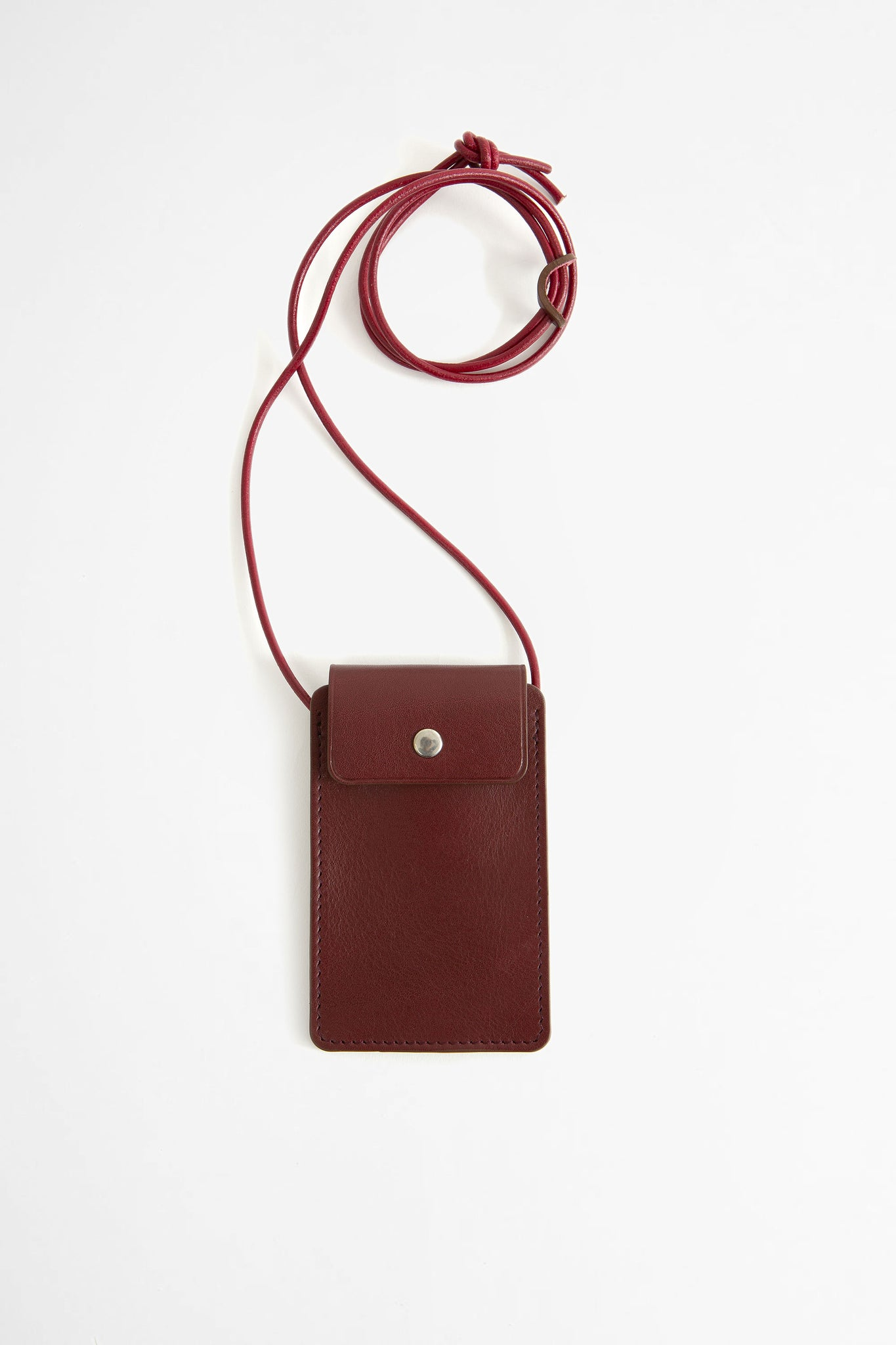 Leather cardholder with strap burgundy
