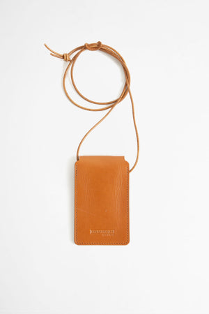 Leather cardholder with strap brown