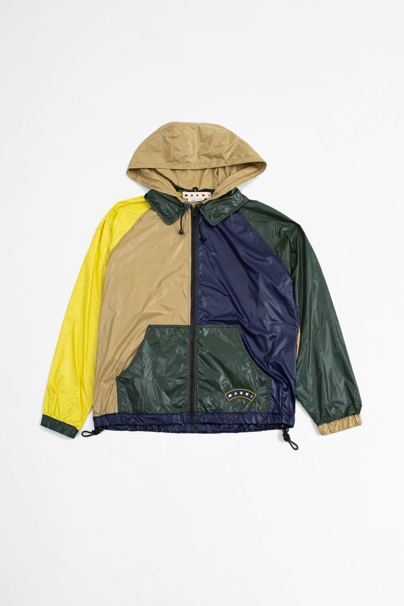 Colour-block hooded jacket multi