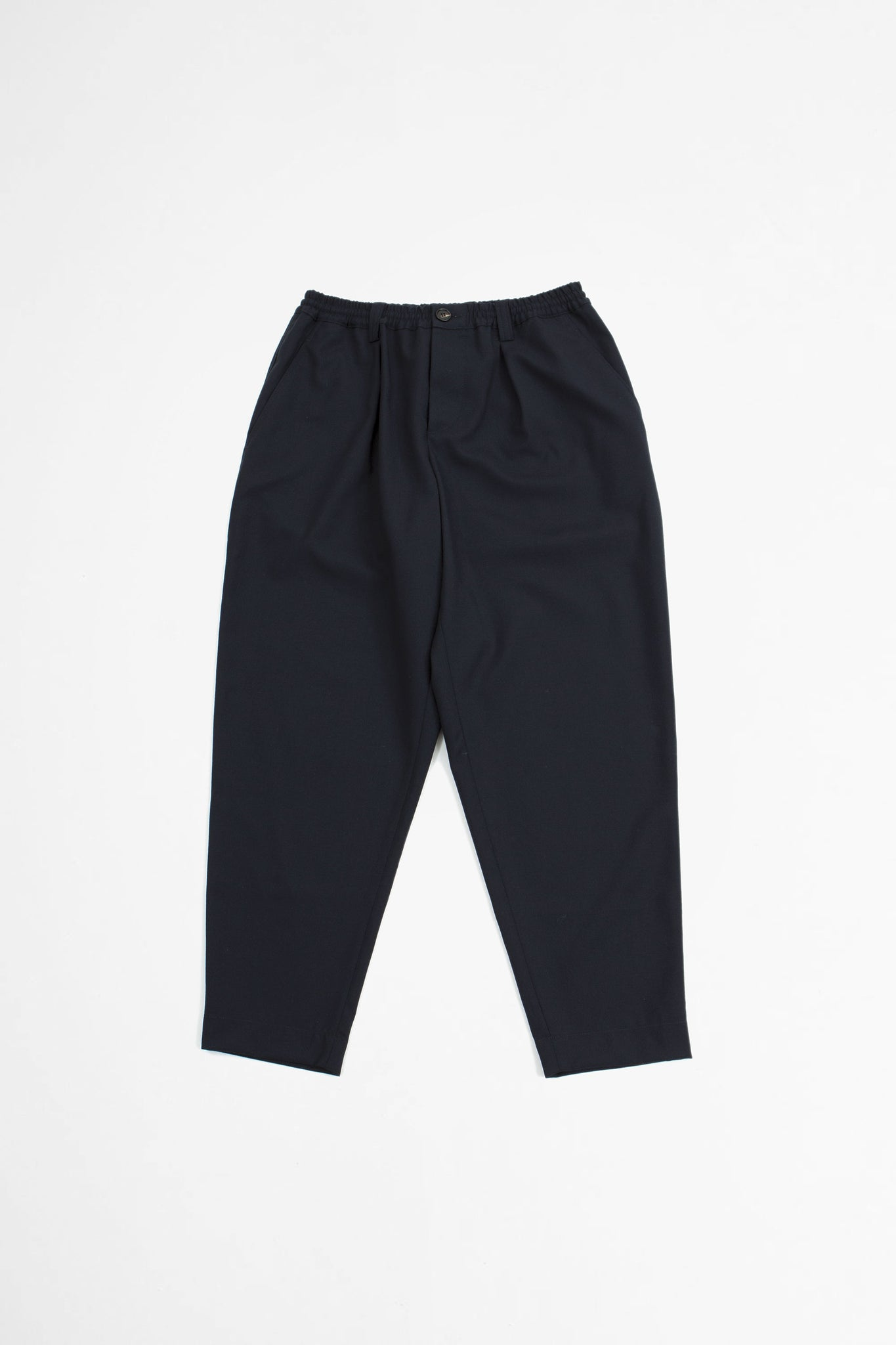 Cropped tailored wool trousers navy