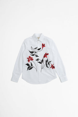 Floral printed shirt white