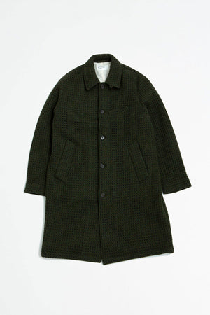 Overcoat tweed olive check