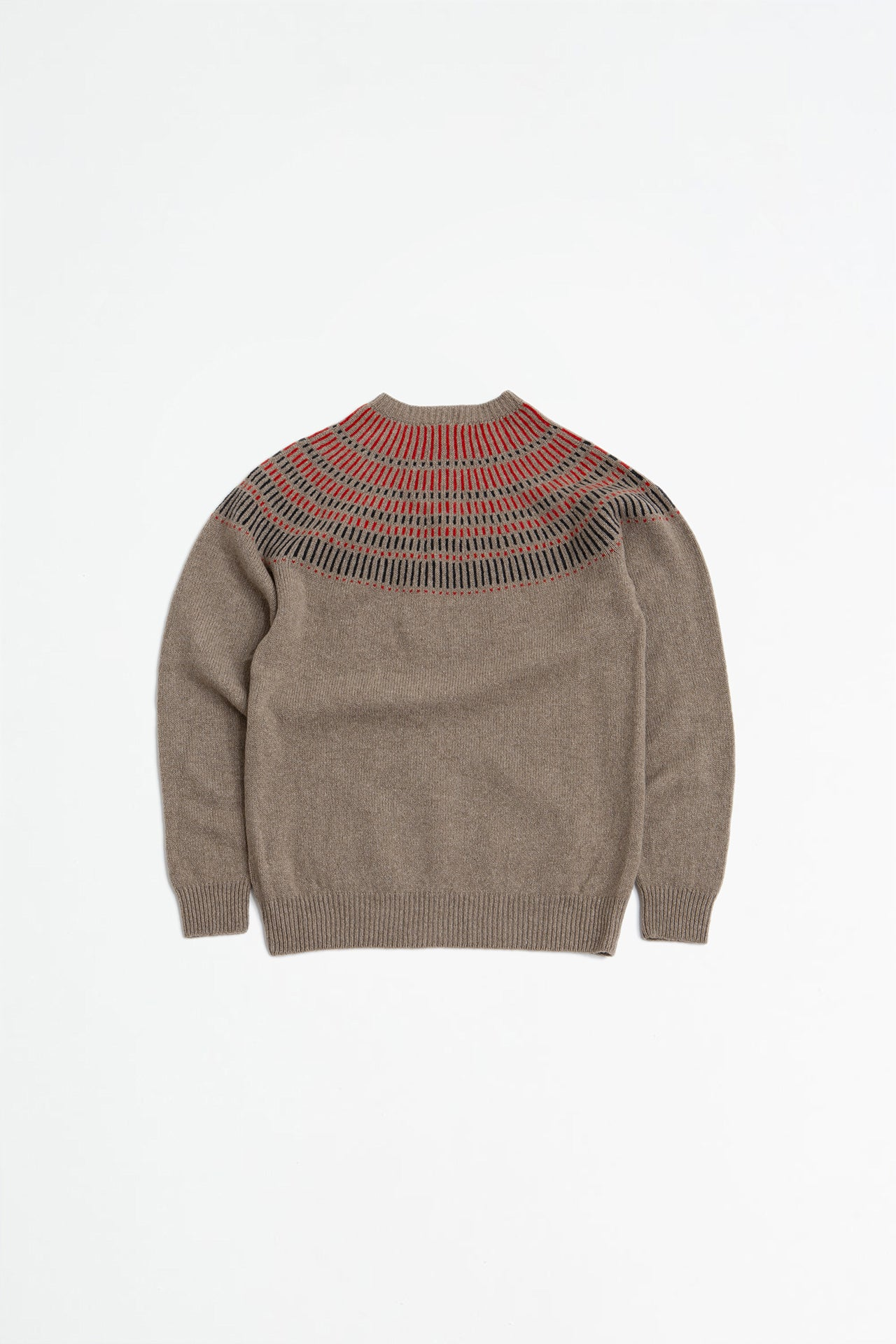 Lambswool yoke detail jumper oatmeal melange