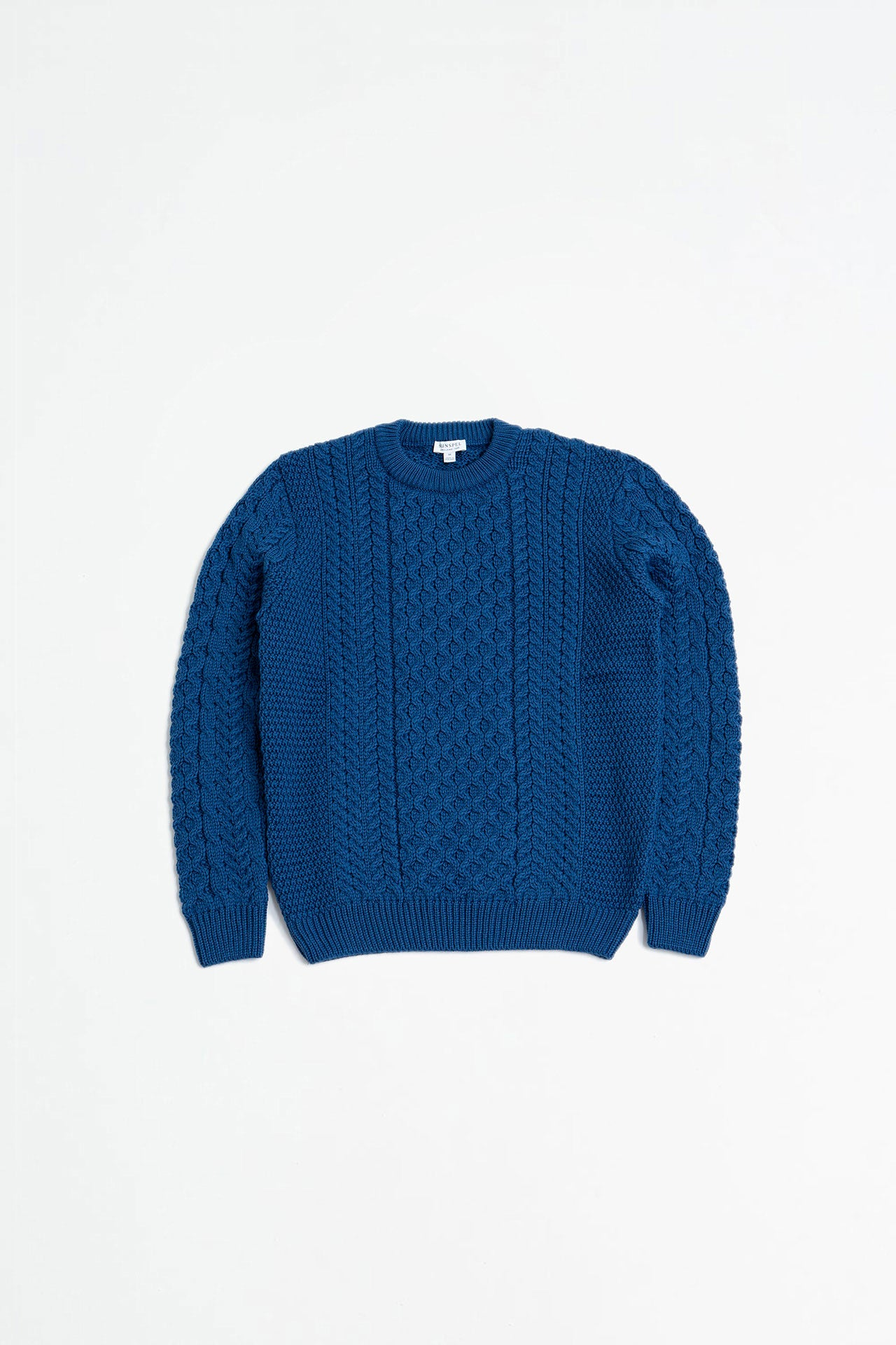 Cable crew neck sweater cobalt blue