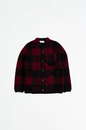 Cardigan wool red check