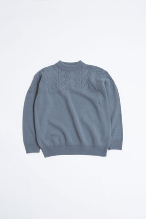 Mock neck lamb knit blue grey