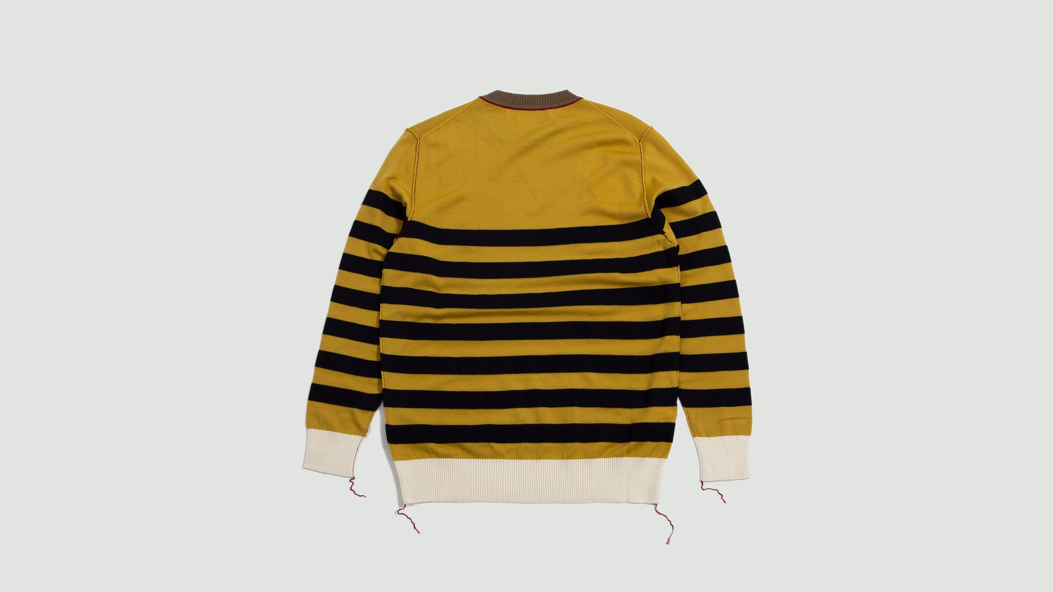 Round Neck Striped Sweater yellow, navy & beige
