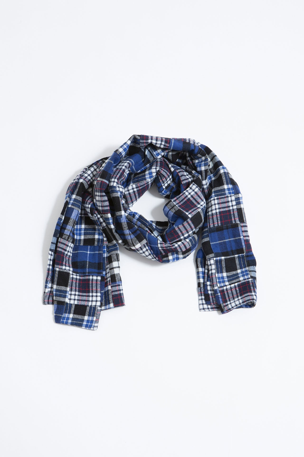Long scarf patchwork blue