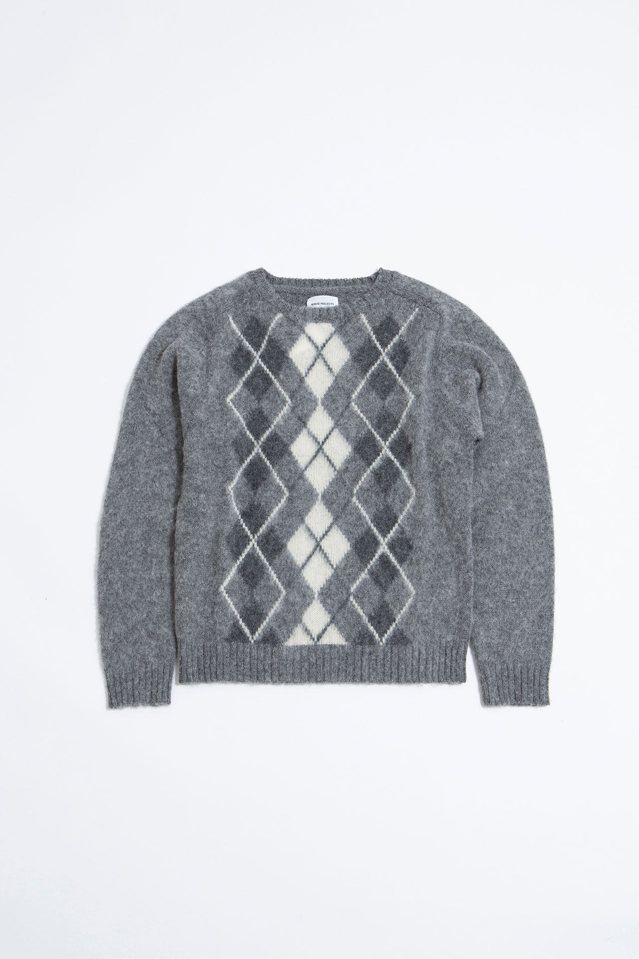 Birnir brushed argyle light grey melange