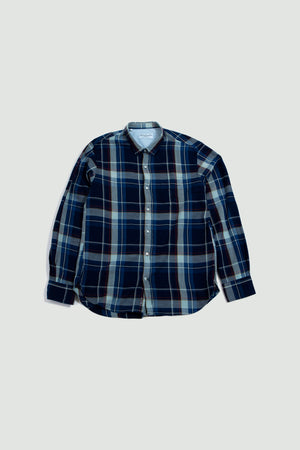 Lipp stitch shirt indigo check white & rust