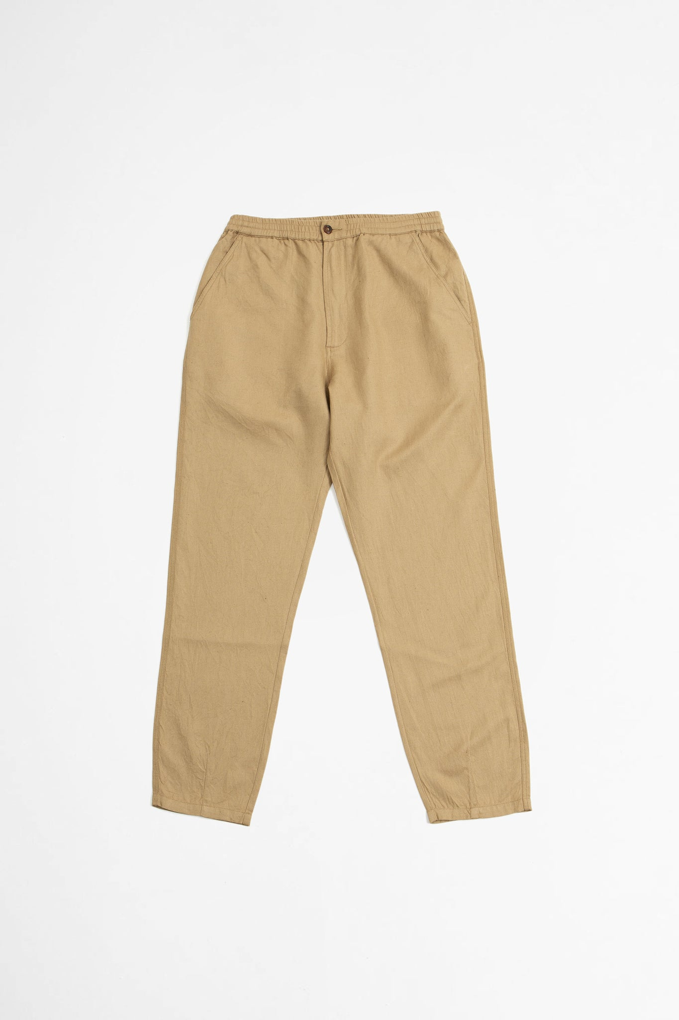 Track trouser linen cotton suiting sand