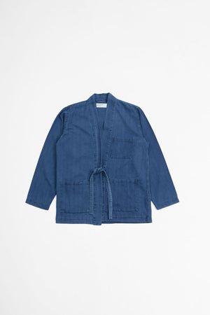 Kyoto work jacket herringbone denim washed indigo