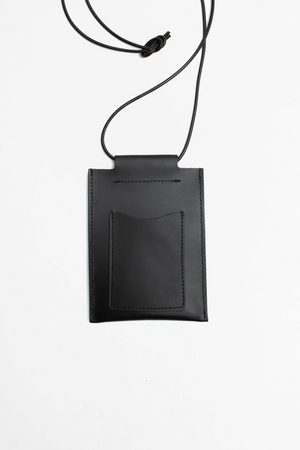Leather square pouch black