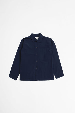 Asymmetric collar shirt denim popeline indigo