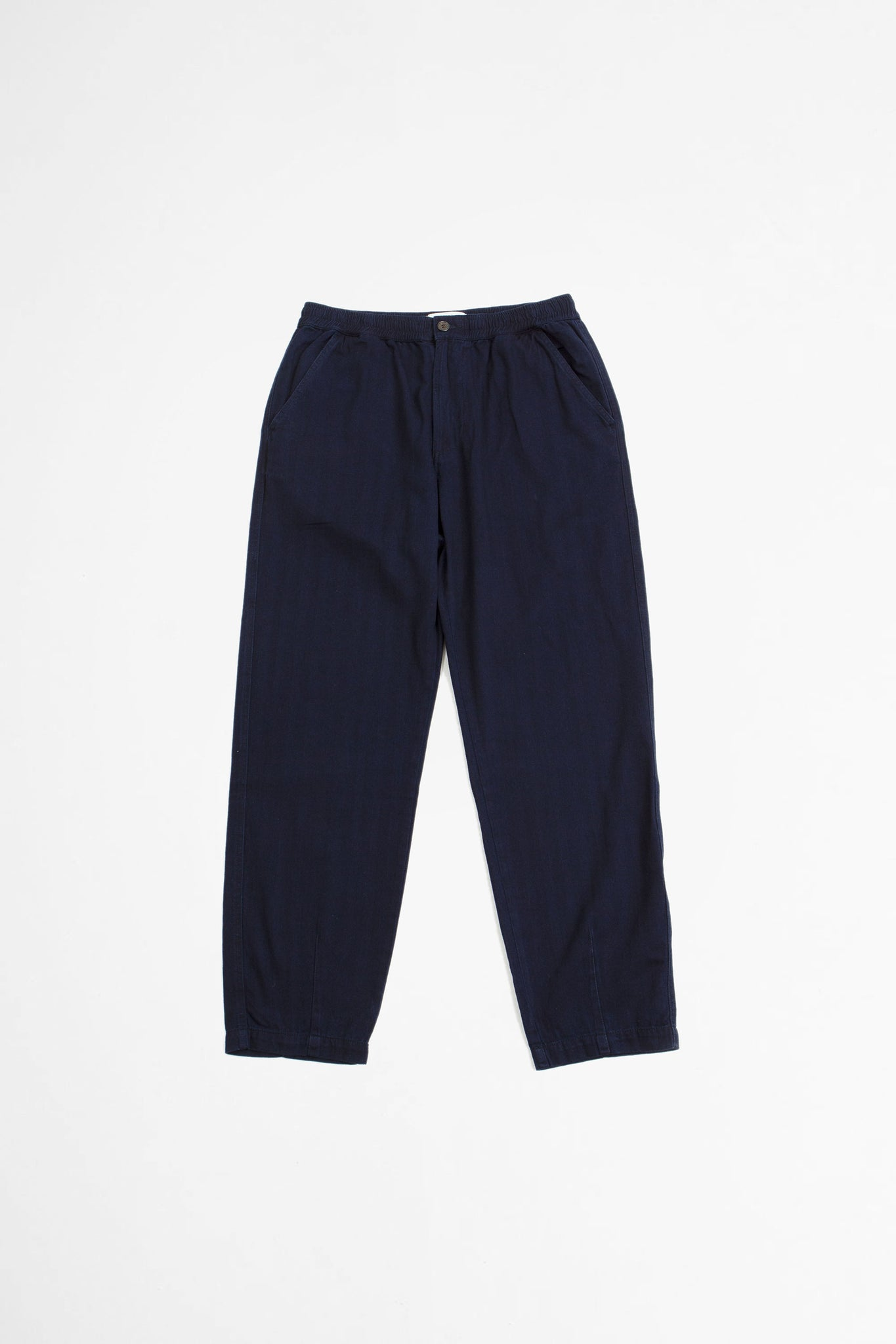 Track trouser herringbone denim indigo