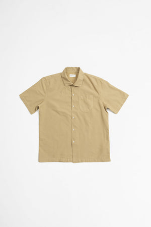 Open collar shirt oxford sand