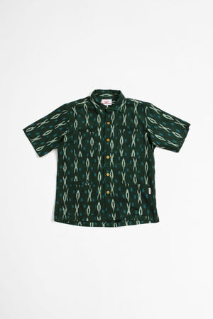 Five pocket island shirt green ikat
