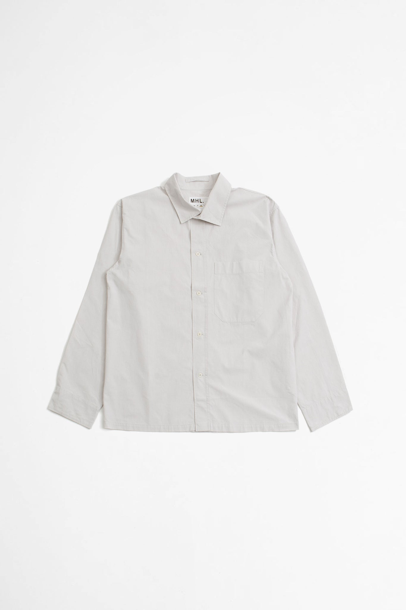 Asymmetric collar shirt compact cotton canvas pale grey