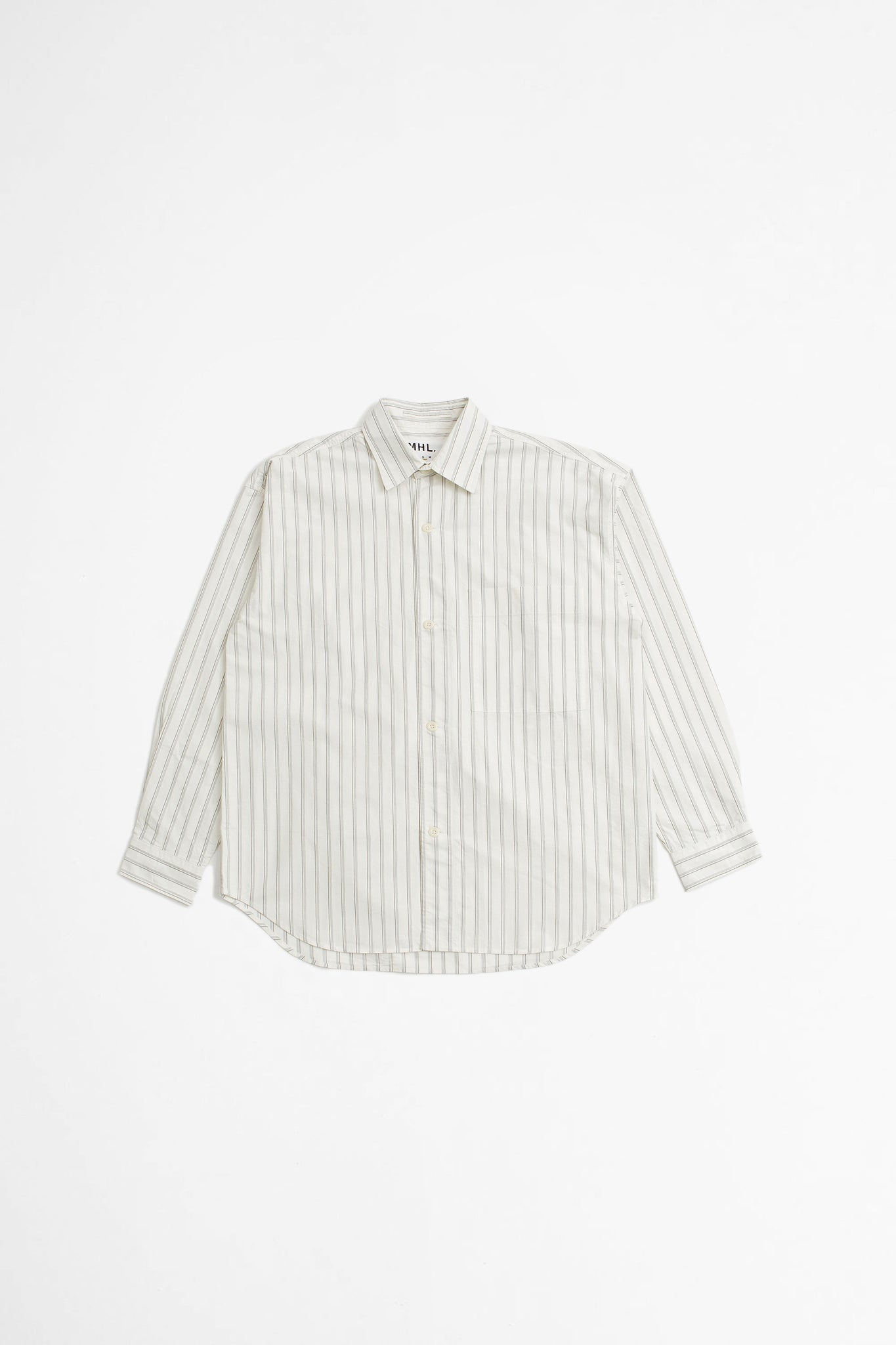 Oversized work shirt 4 line stripe ecru/black