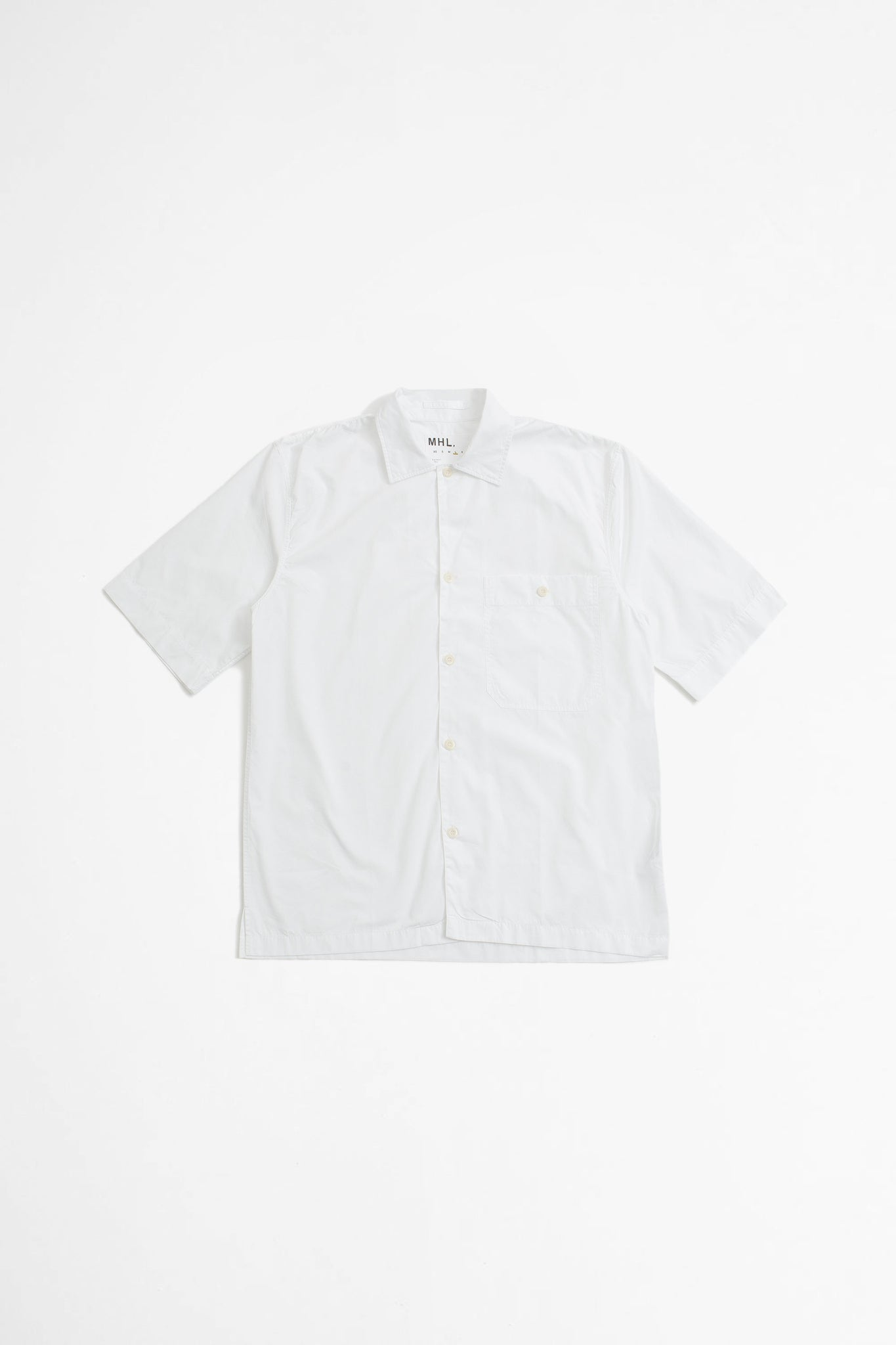 Short sleeve low pocket shirt compact poplin white