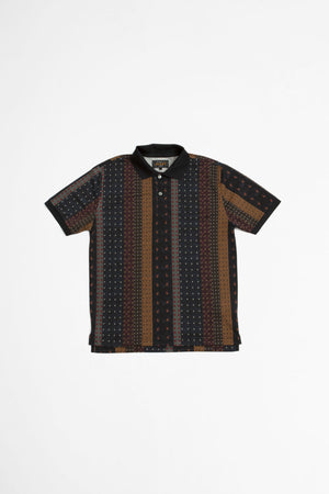 Pique polo geometric print black