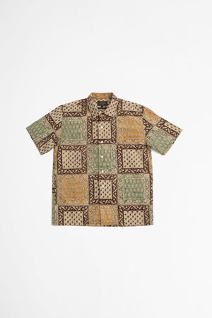 Open collar block print light brown